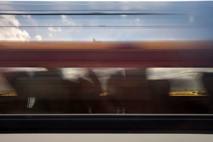 Train window moving train