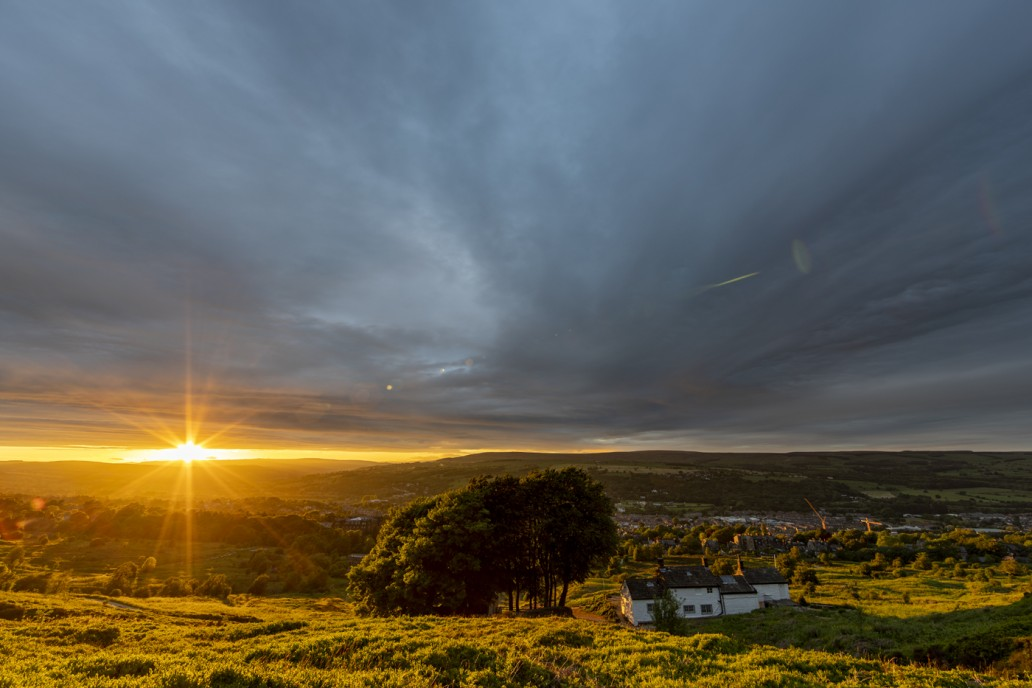 Sunset over ilkley moor by white wells