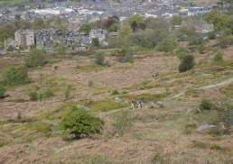 Firefighters walking out to prevent further fire on Ilkley Moor