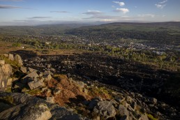 Town of Ilkley from lkley Moor after fire