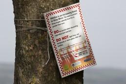 Wildfire sign on Ilkley Moor