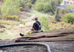 Firefighter taking break on Ilkley Moor