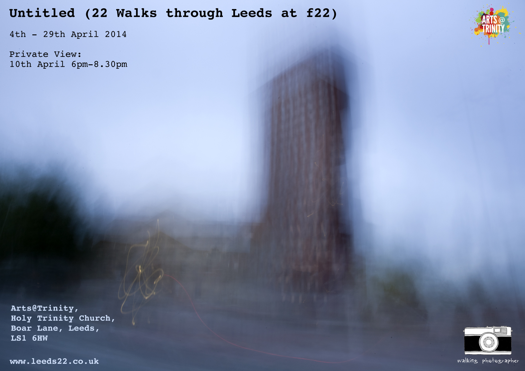 Untitled (22 Walks Through Leeds at f22) exhibition flyer for Arts @ Trinity