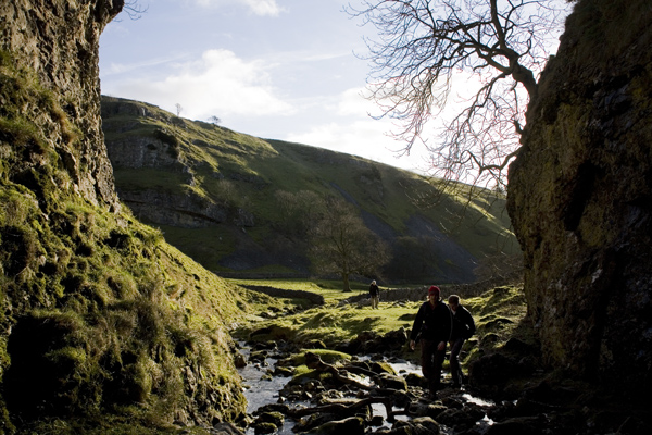 Walkers at trollers gill, Yorkshire dales, wharfedale